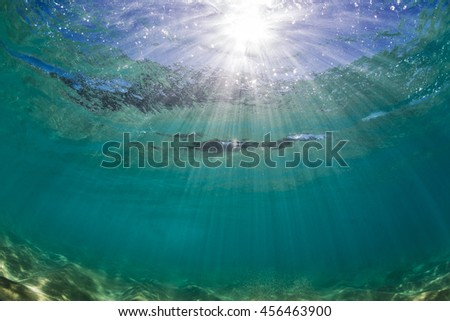 Underwater view of the sea surface with bright sun through water. Pacific ocean with sandy bottom clear environment. Good visibility in daylight. Marine sealife postcard with nobody. - stock photo