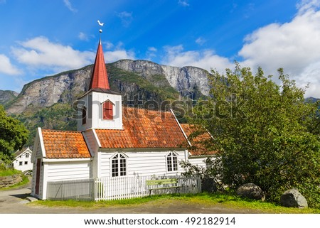Undredal Stave churchl, Norway. Built in 12th century, it is the smallest in Norway.