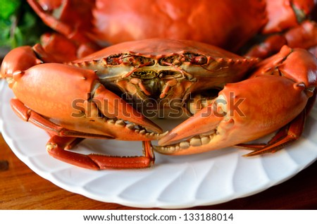undressed roasted crabs prepared on plate - stock photo