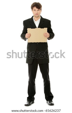 Unemployed businessman with blank cardboard sign , isolated on white background - stock photo