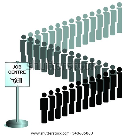 Unemployed people queuing at a job centre sign UK version  - stock photo