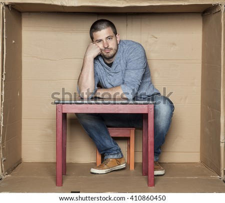 Unemployed thinking about his future - stock photo