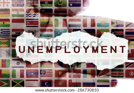 Unemployment concept and flags of the world. Metaphoric insights into worlds unemployment problems. - stock photo