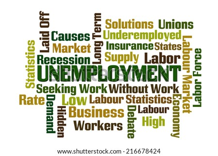 Unemployment word cloud on white background - stock photo