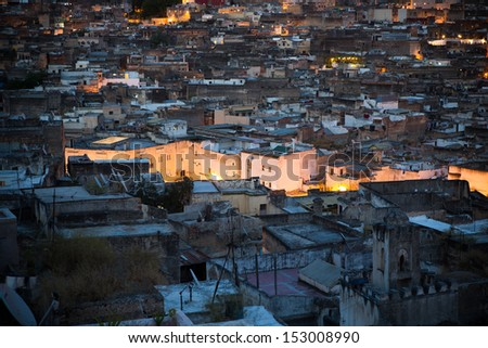 Unesco heritage medina of the Fes at night, Morocco - stock photo