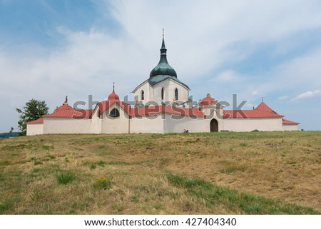 UNESCO sight Church of st. John Nepomuk - Zelena hora, in town Zdar nad Sazavou, Czech republic - stock photo