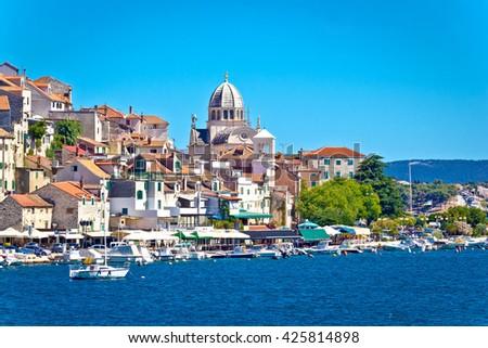 UNESCO town of Sibenik architecture and coastline, Dalmatia, Croatia - stock photo