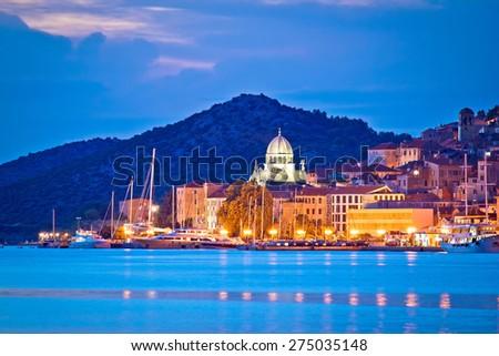 UNESCO town of Sibenik blue hour view, Dalmatia, Croatia - stock photo