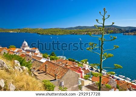 UNESCO town of Sibenik historic waterfront, Dalmatia, Croatia - stock photo