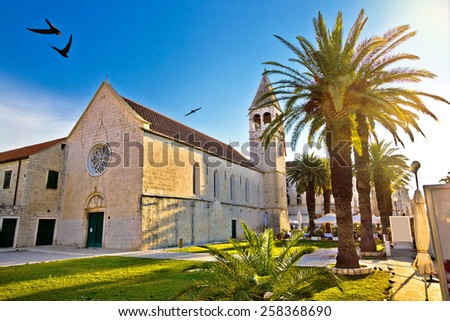 UNESCO town of Trogir church view, Dalmatia, Croatia - stock photo