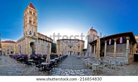 UNESCO Town of Trogir main square view in Dalmatia, Croatia - stock photo