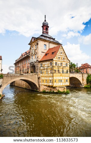Unesco world heritage listed Bamberg germany ancient city with Kayak rapids on river