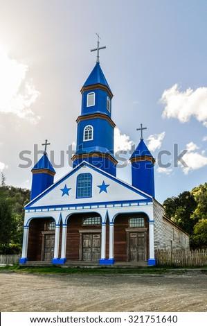 UNESCO World Heritage Wooden Churches, Chiloe Island, Patagonia, Chile - stock photo