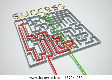 Unfair way to success in a complicated maze. - stock photo