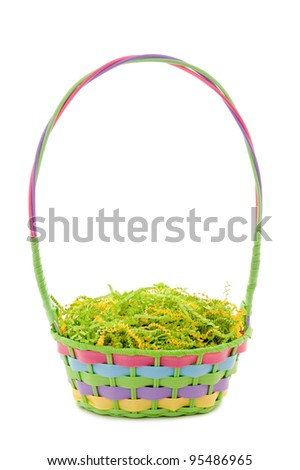 Unfilled Easter basket isolated on white - stock photo