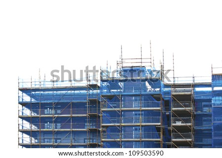 Unfinished building construction site. Isolated on white - stock photo