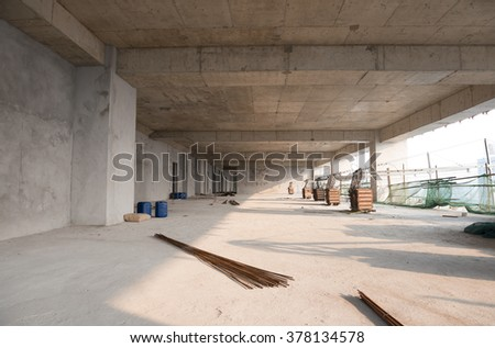 unfinished building inside - stock photo