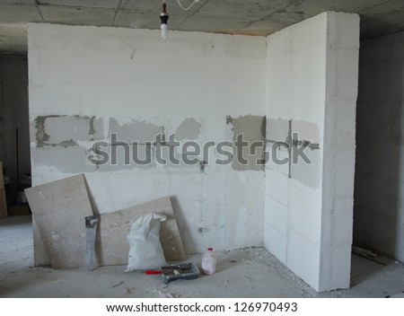 Unfinished building interior