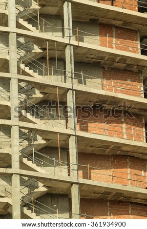 Unfinished concrete structure of a high rise building