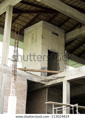 Unfinished elevator structure at construction