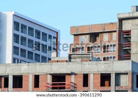 Unfinished floors of the building. - stock photo