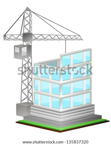 Unfinished high building and crane over white - stock photo