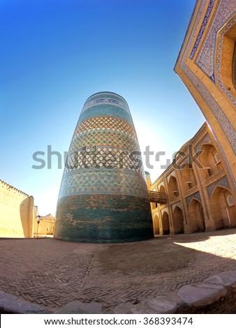 unfinished Kalta Minor Minaret. Khiva, Uzbekistan - stock photo