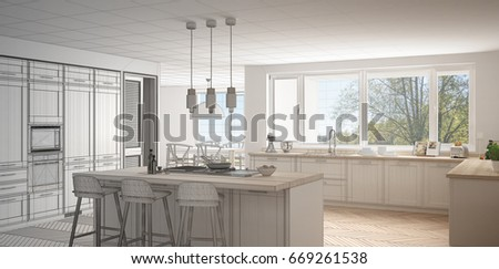 Unfinished Project Of Modern Scandinavian Kitchen With Big Panoramic  Window, Sketch Abstract Interior Design,
