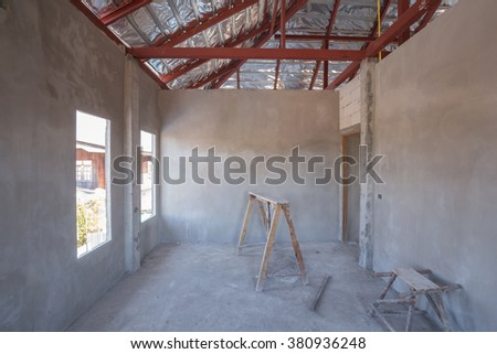 unfinished room of inside house under construction