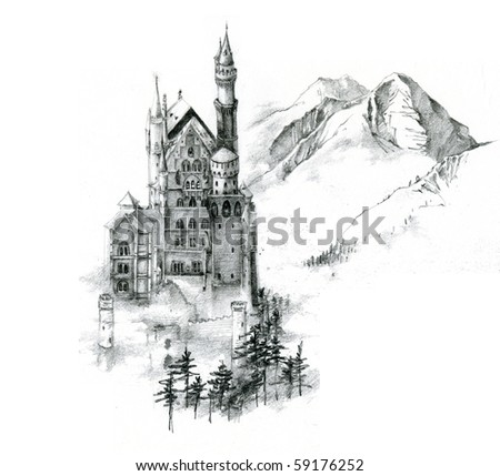 Unfinished sketch of Neuschwanstein Castle in Germany - stock photo