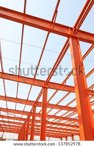Unfinished steel structure buildings in a factory, north china - stock photo