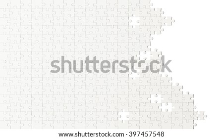 Unfinished White Puzzle with Copy Space Isolated on White Background. - stock photo