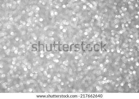 Unfocused abstract silver glitter holiday background