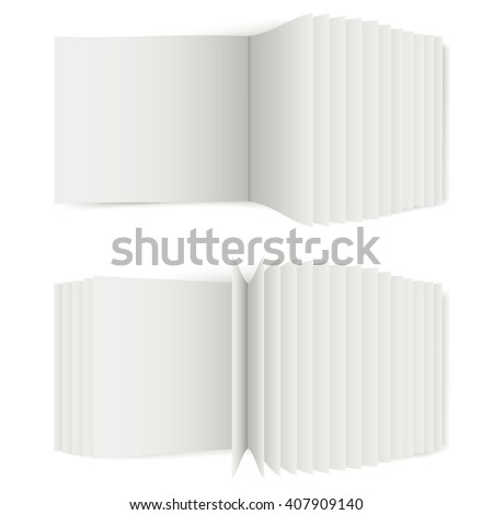 Unfolded book with white sheets for the presentation of articles or advertising, 3D book