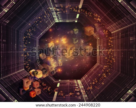 Unfolding Symmetry series. Abstract design made of numbers, graphic elements, lights on the subject of  metaphysics, science and modern technology - stock photo