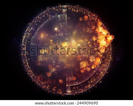 Unfolding Symmetry series. Artistic background made of numbers, graphic elements, lights for use with projects on  metaphysics, science and modern technology - stock photo