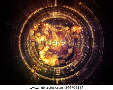 Unfolding Symmetry series. Background design of numbers, graphic elements, lights on the subject of  metaphysics, science and modern technology - stock photo