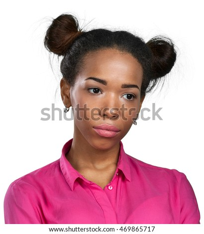 unhappy african american young woman