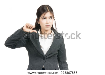 Unhappy asian woman giving thumbs down gesture looking with negative expression and disapproval with blank copy space area for text,Portrait of Asian woman, emotion,isolated on white background - stock photo
