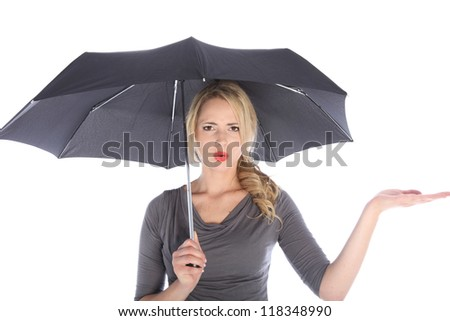 Unhappy blonde woman with umbrella holding palm up and checking for rain on white background - stock photo