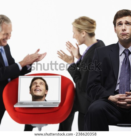 Unhappy Businessman in Presentation - stock photo
