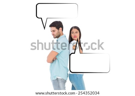 Unhappy couple not speaking to each other against speech bubble - stock photo