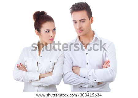 Unhappy couple not talking after an argument at home - stock photo