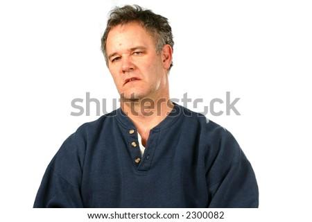 Unhappy Disheveled man - stock photo