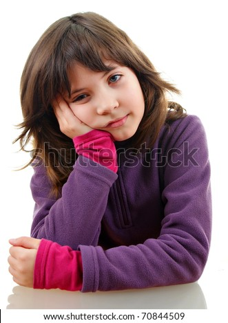 unhappy girl over white - stock photo