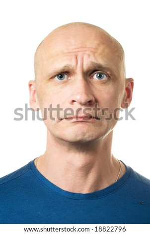 Unhappy. Portrait from bald man facial expressions series. Isolated on white - stock photo