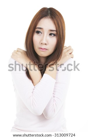 unhappy stressed angry young woman shooting in white background