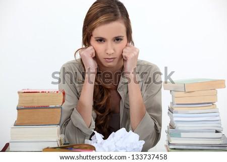 Unhappy student - stock photo