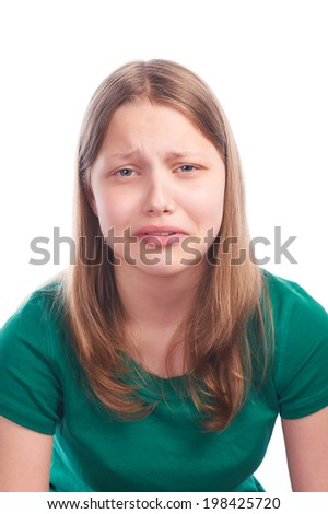 Unhappy teen girl - stock photo