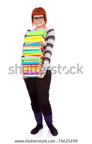 unhappy teenager girl with stack color books, isolated on white background